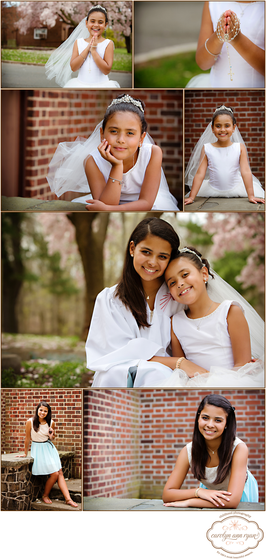 New Jersey Photographer Carolyn Ann Ryan photographs sweet girls for their Communion Day