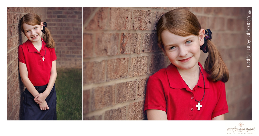 Charlotte NC Family Photographer takes Back to School portraits for first day of school