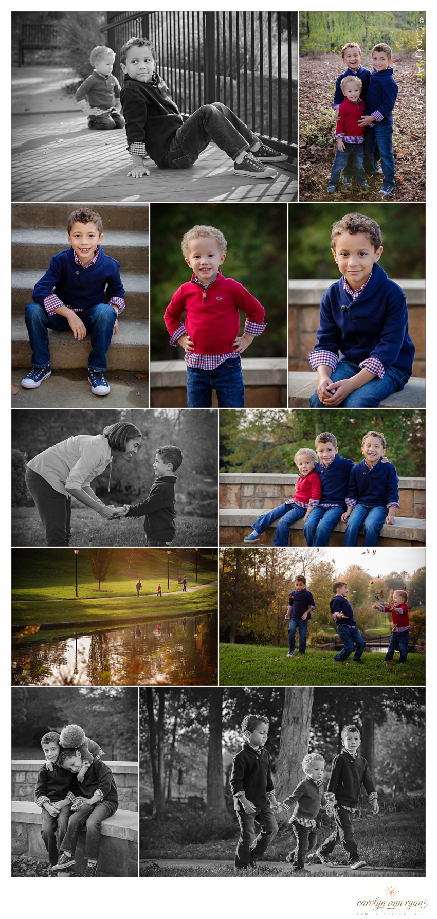 Experienced Charlotte NC Family Portrait Photographer Carolyn Ann Ryan takes photographs of siblings