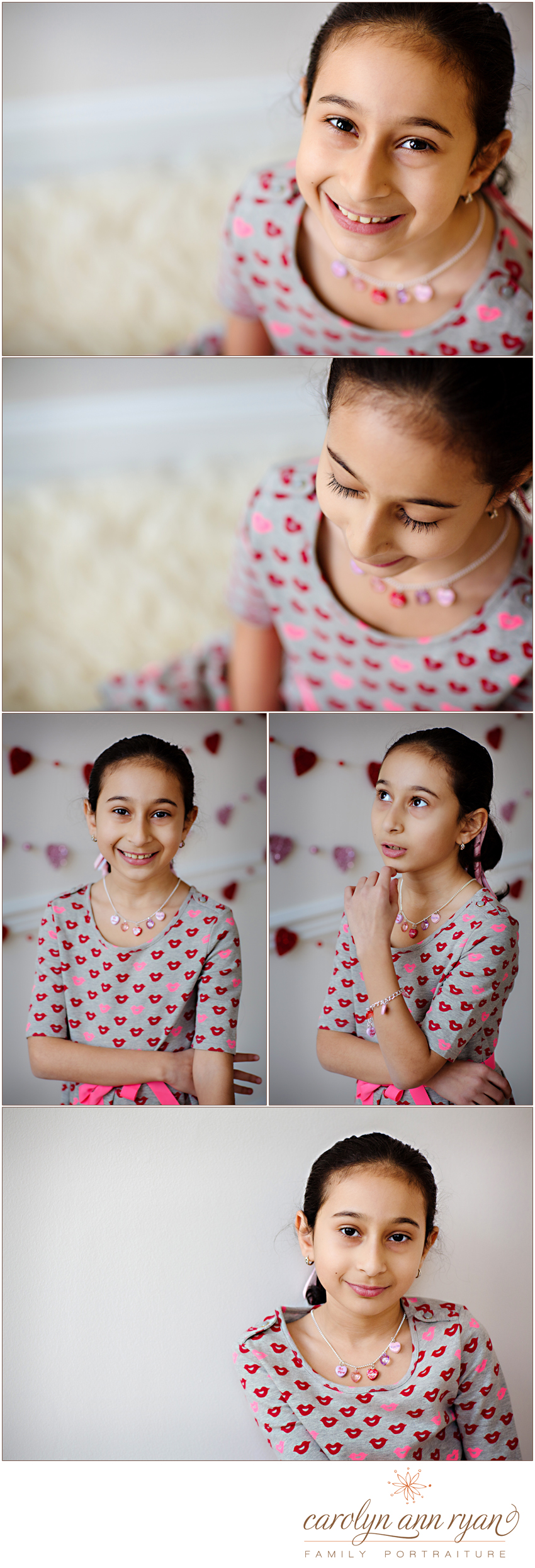 Westfield, NJ Family Photographer photographs young lady in portrait studio for valentines day