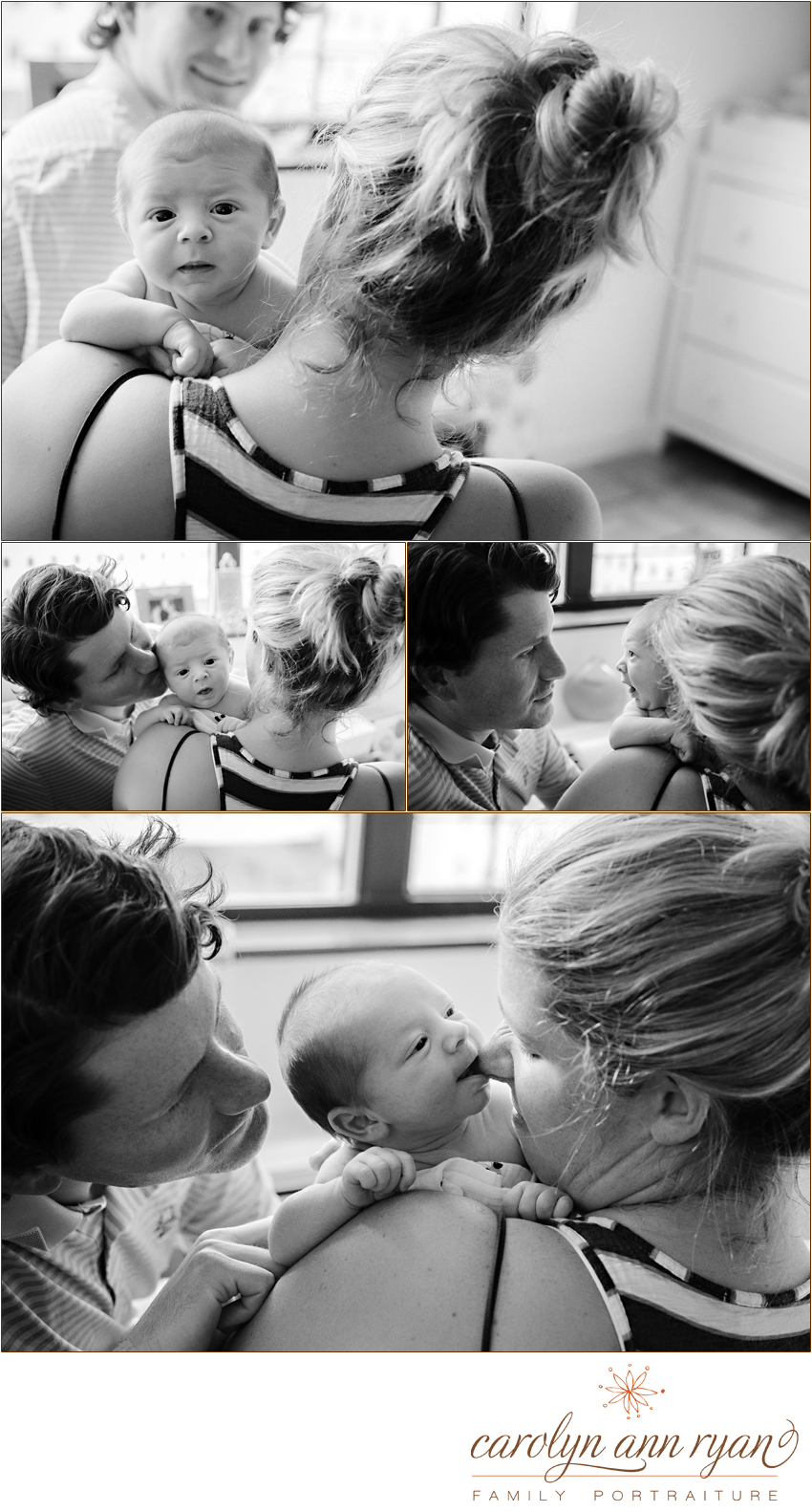 Charlotte Metro Area Baby Photographer, Carolyn Ann Ryan, captures special moments between Mom , Dad and baby.