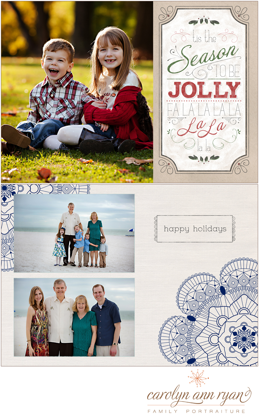 The Carolinas Family Photographer, Carolyn Ann Ryan, shares samples of Holiday Card Designs for clients