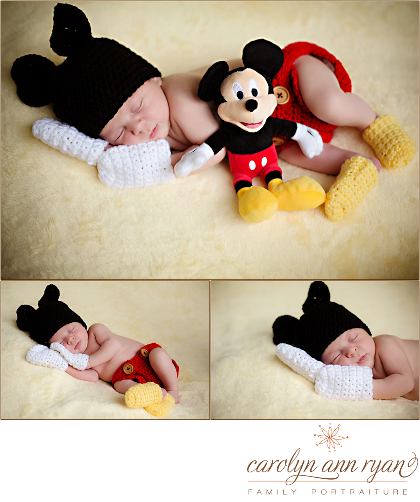 Newborn Posed Portraits in Mickey Mouse Outfit by Charlotte Metro Area Newborn Photographer Carolyn Ann Ryan