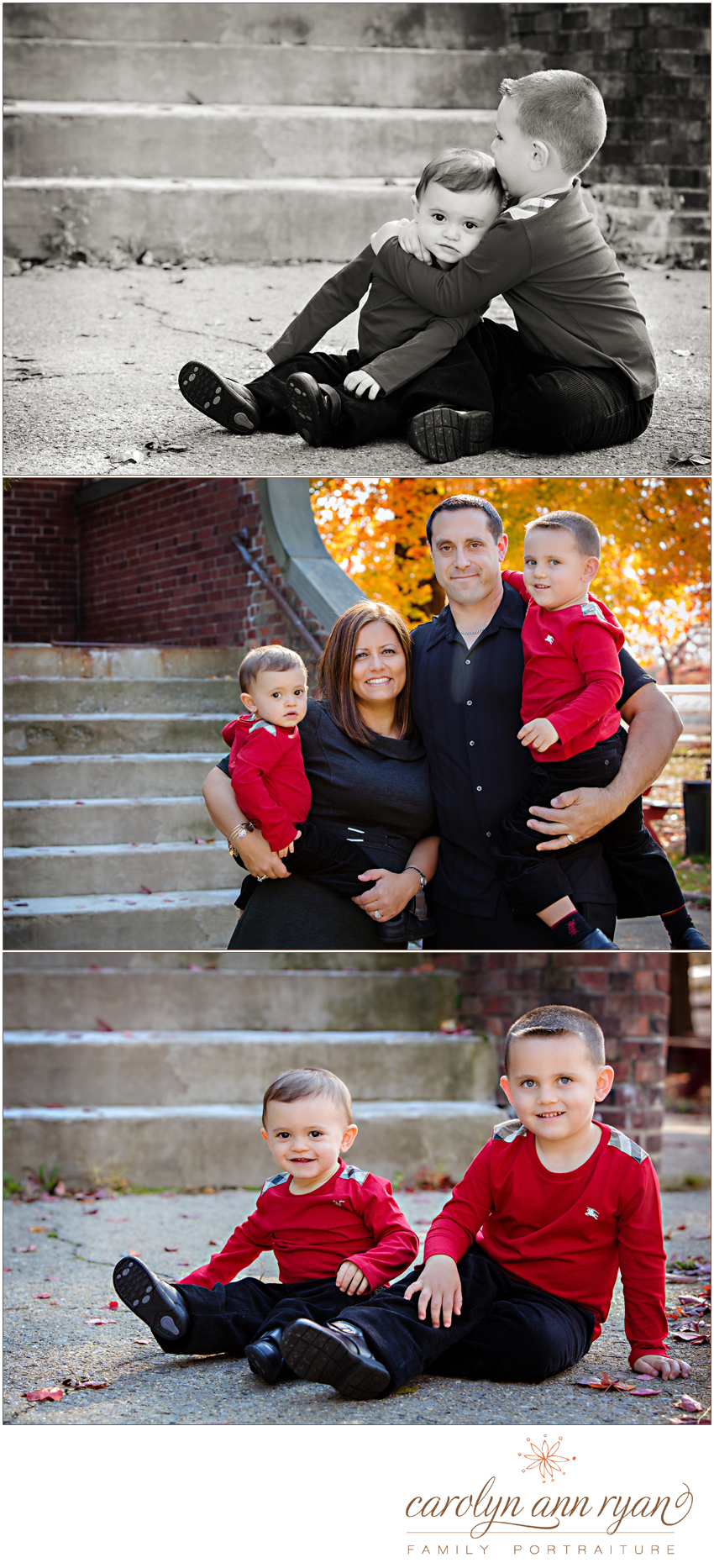 Waxhaw Family Photogapher Carolyn Ann Ryan shares beautiful and classic fall family portraits with a red theme