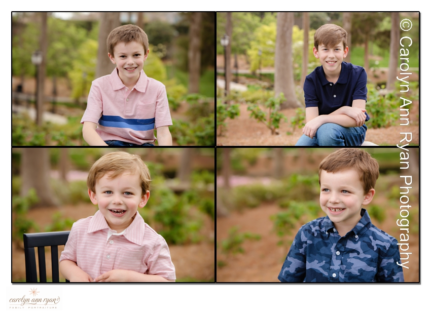 Sweet photographs of boys taken by family photographer, Carolyn Ann Ryan, in Charlotte, NC.