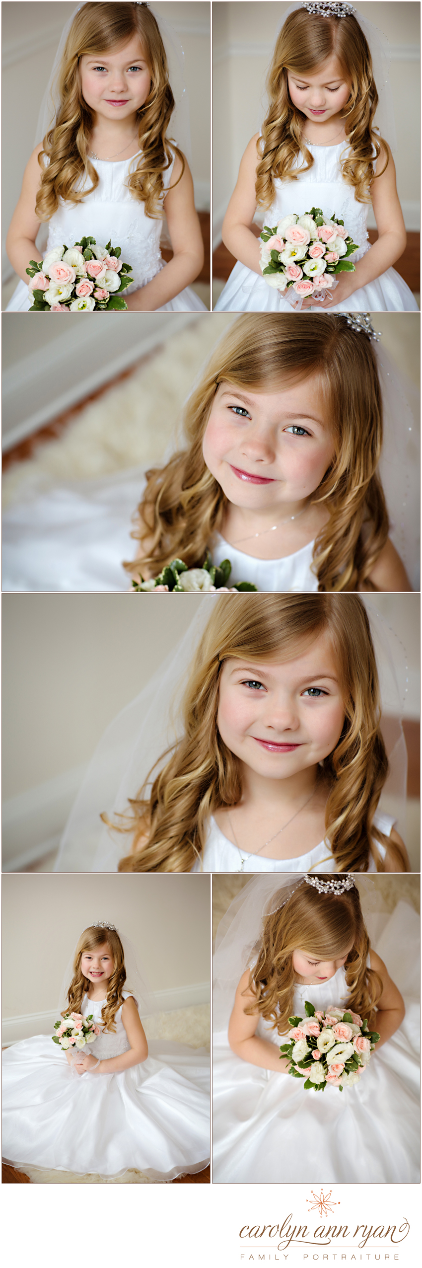 Carolyn Ann Ryan photographs 8 year old for communion pictures in Westfield NJ studio